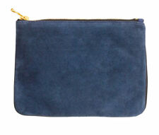 Balmain x H&M Small Dark Blue Suede and Leather Clutch Purse Bag Christmas Gift