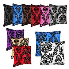 "New Cushion Cover Flock Damask Luxury Cushion Covers & Filled All Colour 18""x18"""