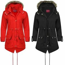 NEW KIDS GIRLS JACKET HOODED WINTER TOP FLEECE FAUX FUR TRENCH PARKA LONG COAT
