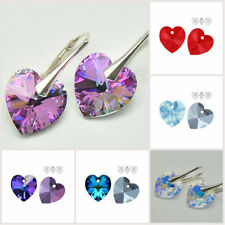 Classic EARRINGS SWAROVSKI ELEMENTS CRYSTAL HEART 14 mm STERLING SILVER Gift Box