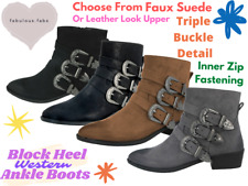 Ladies Faux Leather Western Buckle Fashion Mid Block Heel Chelsea Ankle Boots