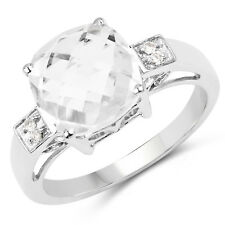 3.45ct Genuine Crystal Quartz & White Topaz 925 Sterling Silver Cushion Cut Ring