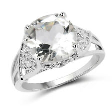 3.39 ct Genuine Crystal Quartz & White Topaz 925 Sterling Silver Engagement Ring