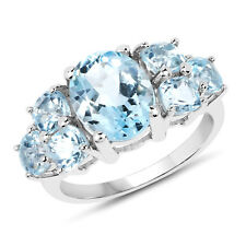 925 Sterling Silver 5.65 ct Genuine Blue Topaz Oval Cut Gemstone Engagement Ring
