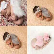 Baby Newborn Angle Feather Wing And Flower Headband Prop Infant Clothes Suit