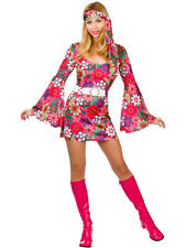 **CLEARANCE** Hippy Retro Go Go Girl Hippie Women's Fancy Dress Costume Wicked