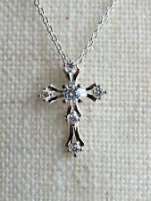 925 Silver Filled Cross Pendant on Link Chain Necklace.