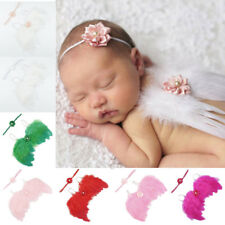 Baby Newborn Angle Feather Wing Photograph Prop Suit Infant Clothes + Headband