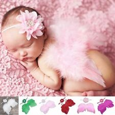 Baby Newborn Feather Wing Bow Headband Photograph Prop Suit Infant Clothes Suit