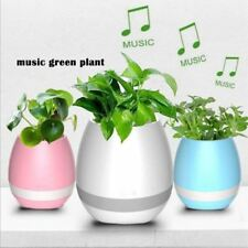 Music Flower Pot Bluetooth Wireless Speaker LED Light Smart Touch Plant USB