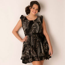 donna splendido nero vestito con piuma stampa in taglie comode 22 to 26 AX Paris