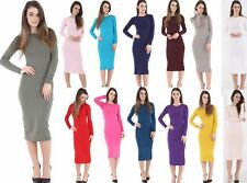 NEW LADIES WOMENS GIRLS LONG SLEEVE MIDI DRESS STRETCH BODYCON PLAIN JERSEY MAXI
