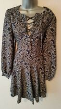 BNWT New NEXT Navy Blue Black White Floral Lace Neck Fit Flare Long Sleeve 10 12