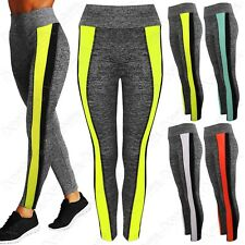 NEW LADIES GREY THICK SPORT CONTRAST LEGGINGS WOMENS YOGA GYM WORKOUT PANTS