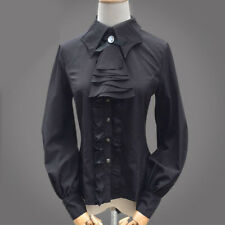 Button-Down Shirts For Women Stand-Up Collar Vintage Victoria Ruffle Slim Blouse