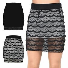 Womens Elasticated Waist Ladies Full Lace Net Scallop Detail Stretchy Mini Skirt