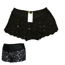 Ladies Black Lace Lacy Boxer Underwear Knickers Panties Briefs Boy Shorts