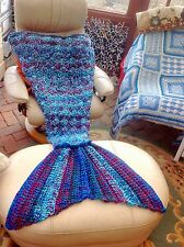 Crochet mermaid Tail Blanket Chunky cocoon gift for her Xmas Birthday Handmade