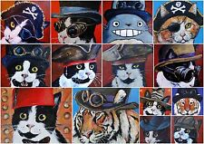 Steampunk Animal Art Greeting Cards Cat Totoro Tiger Dr Who Christmas Cats