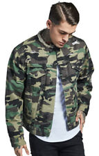Sik Silk Jacket Collarless Distressed Denim - Camo