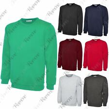 New Mens Plain Long Sleeve Fleece Sweatshirt Sweater Casual Jumper Leisure Sport