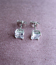 18K White Gold Filled Stud Earrings with C Z Crystal - Unisex. NEW.