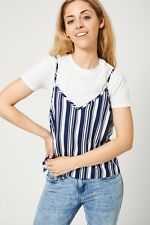 Casual White T-Shirt With Striped Cami Top Women's Ladies Spring Summer Party UK