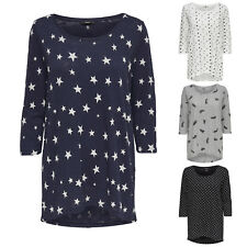PULLOVER DONNA SHIRT onlcasa 3/4 TOP MULLET OVERSIZE Stelle Pois Cuore