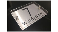 Personalised Acrylic House Sign Modern Brushed Aluminium Door Number Road Plaque