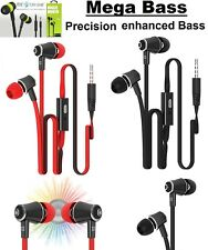 3.5MM JACK IN EAR MEGA BASS STEREO HANDS FREE EARPHONES HEADPHONE WITH MIC BLACK
