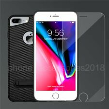 Luxury Carbon Fiber Soft TPU Silicone Case Cover + Film for iPhone 8 7 6s 6 Plus