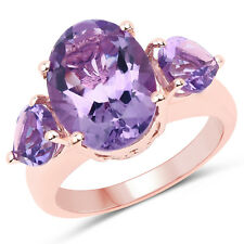 14K Rose Gold Plated 6.30 Ct Genuine Amethyst 925 Sterling Silver Wedding Ring