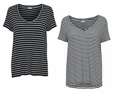 JDY by ONLY DONNA OVERSIZE T-SHIRT SPIRIT S/S STRIPE scollo a V TOP RIGHE NUOVO