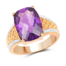 14K Rose Gold Plated 7.57 Ct Genuine Amethyst 925 Sterling Silver Wedding Ring