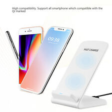 Dual Coils Qi Wireless Fast Charger Stand Pad For iPhone X/8 Samsung Galaxy S8