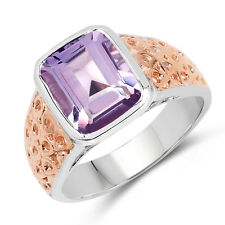 14K Rose Gold Plated 2.65 Ct Genuine Amethyst 925 Sterling Silver Wedding Ring
