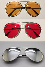 New Silver HD Aviator Colored Lens Glasses Sunglasses Metal Red Orange Mirror