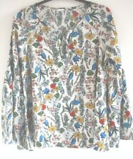 Fluted Sleeve Smock Top Blouse Boho Hippie Multi Coloured Floral Festival White