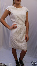 NEXT WHITE EMBROIDERED FLORAL LACE ANGLAISE SHIFT  DRESS