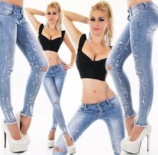 Jeans Donna Pantalone a sigaretta skinny slim fit RISSE IN GINOCCHIO Argento