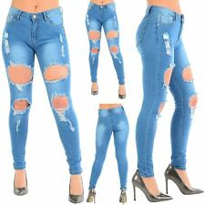 Womens Ladies Distressed Destroyed Extreme Ripped Skinny Fit Hole Denim Jeans