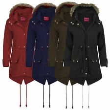 WOMENS JACKET HOODED FLEECE FAUX FUR LADIES GIRLS TRENCH PARKA COAT PLUS SIZE