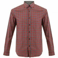 Gabicci Checked Shirt Red Navy Cherry 35GW05 Classic Vintage Mens Button Collar
