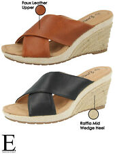 Ladies Faux Leather Cross Over Open Toe Slip On Raffia Mid Wedge Mule Sandals