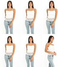 Womens Ladies White Printed Floral Pink Lace Casual Sleeveless Cami Top