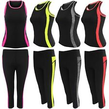 WOMEN SPORTSWEAR YOGA WORKOUT SUIT FITNESS GYM VEST TOP CAPRI PANTS 2-PC SET