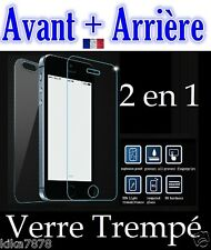Vitre protection Film Protecteur Verre Trempé AVANT/ARRIERE iPhone 6/6S/5/4/SE