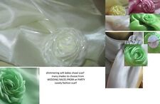 Scarf Shawl wrap-ORGANZA shimmer Wedding-bridal prom party with rosette clip