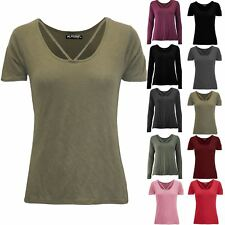 Womens Front Cross Over Short Sleeve Ladies Strap Basic Casual T shirt Tee Top