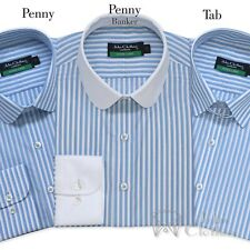 Mens Cotton shirt Penny collar Tab collar Sky Blue White stripes Gents Club Loop